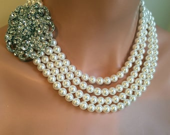 Complete Bridal Jewelry Set Pearl Necklace Bracelet Earrings 4 Multi Strands Swarovski Pearls in your choice of color and Rhinestone Brooch