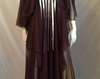 70's Juliet Inspired Tiered and Fluttered Flowing Brown Chiffon Maxi Gown with Criss Cross Ribbon Detail