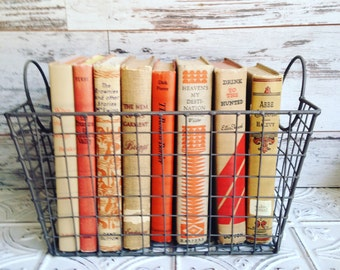 Beige and Orange Instant Library Collection Vintage Decorative Books by Color Bundle Photography Props Stack of Vintage Books for Wedding
