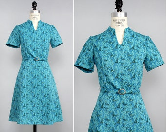 Flare Dress S/M • 60s Mod Dress • Knit Dress • Teal Dress • Fit and Flare Dress • 60s Mini Dress • Mad Men Dress with Sleeves | D658