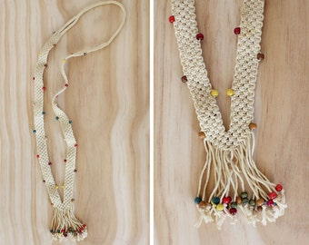 Macrame Necklace •  Rainbow Beaded Necklace • 70s Jewelry • Ivory Necklace • Wood Bead Necklace • Fringe Necklace • Hippie Necklace | N204