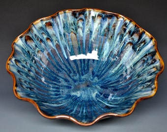 Turbulent Blue Ceramic Salad Bowl Pottery Serving Pasta A