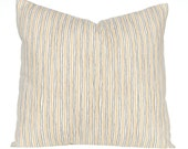 Stripe Pillow Covers - Decorative Pillow Covers - Gold and Gray Stripe - Sofa Pillow Covers - Paisley and Stripe - Pair of Two - Cushions