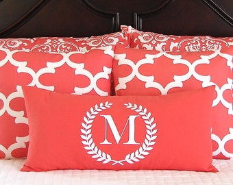 PIllow Shams - Decorative Pillow Covers - Coral Bedding - Coral Pillows - 12 x 24 Monogram Pillow Included - Five Pieces - Dorm Decor