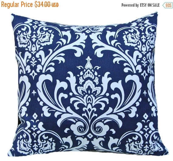 SALE Decorative Throw Pillow Covers - Navy Blue Pillow Covers - Blue Pillowcase - Blue Throw Pillow Covers - 20 x 20 - Blue on White Damask