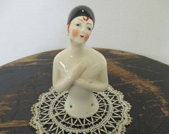 Vintage Pierrot Half Doll - 1920's German Half Doll - Pincushion Doll - Art Deco - Sewing Studio Decor - Sewing Collectible