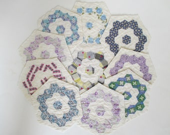 Vintage Hand Pieced Quilt Blocks - 10 in Lot - Hexagon Shape - Sewing - Quilting - Shabby, Cottage Decor - Blue, Purple, Floral
