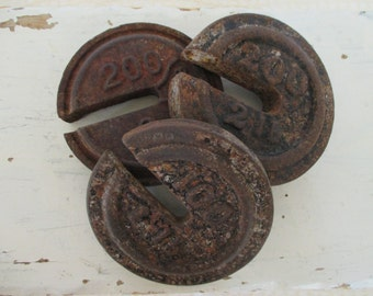 Vintage Salvaged Cast Iron Scale Weights - Circular Shape - Three in Lot