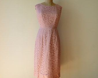 "Vintage 1950's/Pink Lace Dress Medium/Pink Lace Wiggle Dress/50's Pink Lace Illusion Fitted Dress/Pink Bridal Party Dress/30"" Waist/Medium"