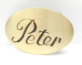 Vintage  Brass Belt Buckle PETER