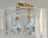 Estate 14k Solid Yellow Gold Blue Topaz Pierced Drop Earrings