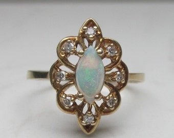 Vintage 14k Solid Yellow Gold, Diamond and Natural Opal Ring, Size 6.75