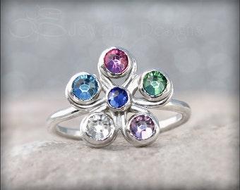 6 BIRTHSTONE Flower Ring - multi stone ring, multi birthstone ring, mothers ring, family ring, grandmothers ring, flower ring