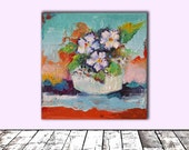 Parma Violets Flowers, Original Modern Floral Oil Painting - Ready to Hang (2016)