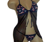 Atlanta Braves MLB Lingerie Negligee Babydoll Sexy Teddy Set with Matching G-String Thong Panty