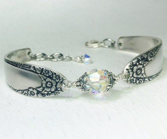 Silver Spoon Bracelet, Clear Crystal, Silverware Jewelry, 'English Garden' 1949