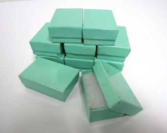 Teal Blue Boxes - 20 count (2.5 x 1.5 x 1) Cotton Filled Jewelry Boxes