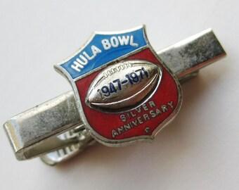 Vintage 1971 Hula Bowl Enamel Silver Anniversary Tie Bar Clip