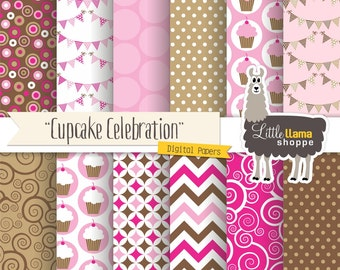Birthday Digital Paper, Cupcake Scrapbook Paper, Celebration Digital Patterns in Pink and Brown, INSTANT DOWNLOAD, Commercial Use