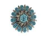 blue round rhinestone flower brooch, turquoise blue, beaded cabochons, vintage, wedding bouquet, southwestern