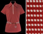 Size 12 Mod Shirt - 60s 70s Polyester Knit Top - Red & White Stripes - Plastic Chain Link Belt - NOS 1960s Deadstock - Bust 40 - 46806