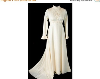 Pretty 1960s Ivory Satin Bridal Gown with Bell Sleeves & Train - Size 8 - Wedding Dress - NWT - Bust 35 - Waist 27 - 31833-1