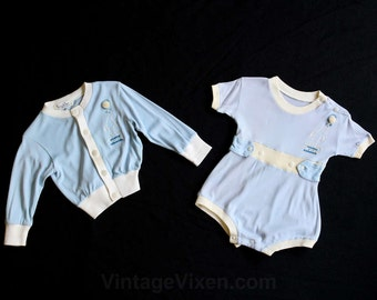 Baby Boy's 1950s Outfit - Blue Knit Romper & Jacket with Circus Seal Embroidery - Size Newborn - 0 to 3 Months - Infants 50s Set - 29855