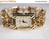 ON SALE Ladies Watch, Silver and Gold Watch, Crystal Watch