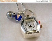 ON SALE Watch Pendant Necklace, Watch Pendant Charm, Blue Charm and Gray Charm, Birthstone