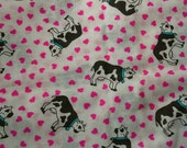 Black and White Cows and Pink Hearts Cotton Blend Fabric 1 3/4 Yards X0467