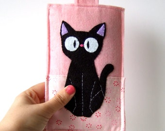 Jiji (from kiki's delivery service by studio ghibli) Black cat smart phone case / iphone cozy / samaung galaxy cover pink