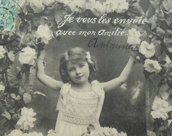 Antique French Postcard - Little Girl with Trellis and Flowers