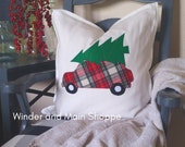 Custom order for Amanda- Bringing Home the Tree, applique 5t tee shirt-Red Plaid
