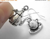 VALENTINES DAY SALE - Sterling Silver Tea Jewelry - Tea Pot Earrings - Tea Earrings - Teacup Jewelry 203 204