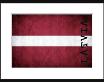 Latvia Flag - Print Poster -