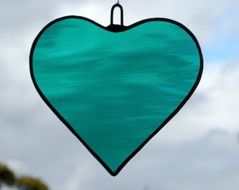 Stained Glass hanging ornament (Love Heart) teal green rippling water glass