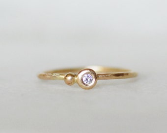 Skinny Diamond Stacking Ring - 1.3mm 14k OR 18k Gold Seed Stacking Ring - Eco-Friendly Recycled