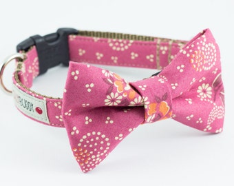 Dusty Rose Floral Dog Bowtie Collar