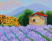 RESERVED for marariley1 Oil Painting Original Tuscany Sunflowers Lavender Fields