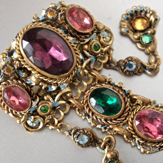 Brooch Czech Austro Hungarian Revival Large Enameled and Jeweled Chatalaine Brooch