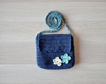Crochet navy bag Crossbody blue bag Shoulder bag Summer purse bag