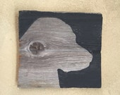 Rustic Barn Wood Black Lab Silhouette Wall Art • Labrador Retriever Wooden Chalk Paint Wall Hanging • Mini Lab Painting • Ready to Ship