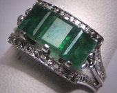 ON HOLD Antique Emerald Wedding Ring Art Deco Vintage Filigree 1930 Band