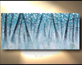 Silver Painting Ready to Ship 24 x 48 Blue aqua turquoise Oil Textured Abstract Art tree flower Large Modern Contemporary art by OTO