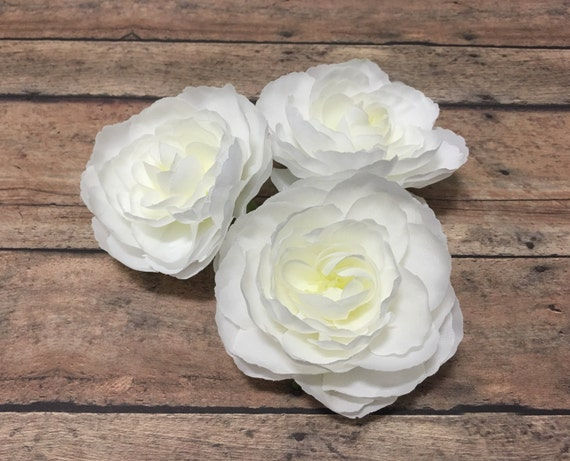Flowers - Three Ranunculus Flowers in White Cream - 3 Inches - BlissfulSilks Silk Artificial Flowers in Etsy Studio