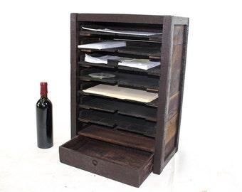 STACK - Wine Barrel Tank Wood Desk Organizer