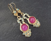 Dangly Turquoise Stone Violet Pink Jade Turkish Ethnic Earrings - Gold Plated Brass