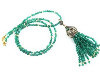 Ethnic Turkish Tassel Necklace Emerald Green Facet Jade Gemstone Statement Gypsy Hippie Bohemian Artisan - One Of A Kind