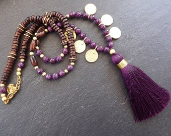 Long Beaded Tassel Necklace Gypsy Jewelry Hippie Bohemian Artisan -  Purple Gemstone Wooden Beads