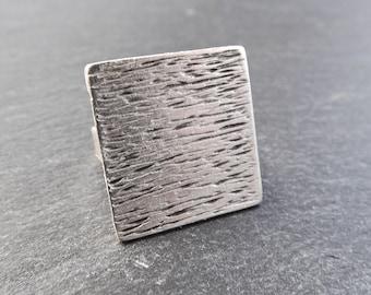 Sqaure Adjustable Silver Ethnic Tribal Boho Geometric Statement Ring